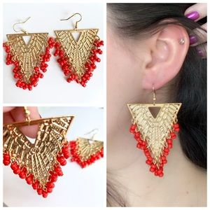 Gold Triangle Earrings with Coral Beads